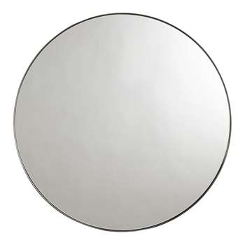 John Lewis & Partners Cliffe Large Round Mirror, Black (H92 x W92 x D4cm)