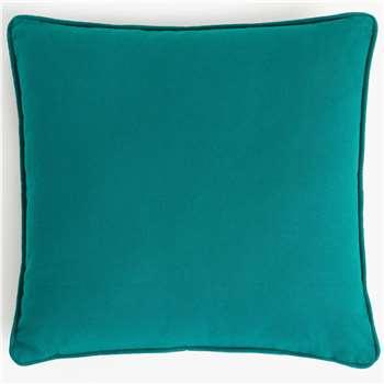 John Lewis & Partners Dahlia Showerproof Outdoor Cushion, Peacock (H43 x W43cm)