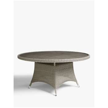 John Lewis & Partners Dante 6 Seat Round Wood-Effect Top Garden Dining Table, Grey (H75 x W150 x D150cm)