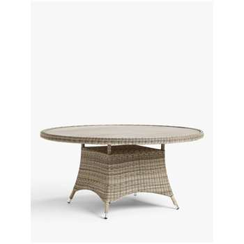 John Lewis & Partners Dante 6 Seat Round Wood-Effect Top Garden Dining Table, Natural (H75 x W150 x D150cm)
