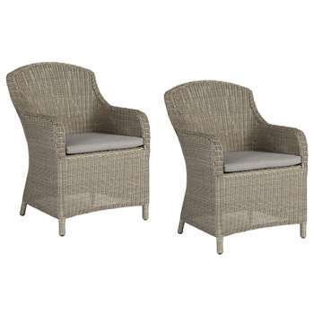 John Lewis & Partners Dante Deluxe Garden Dining Armchair, Set of 2, Grey (H90 x W60 x D72cm)