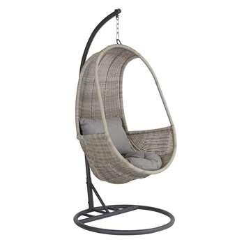John Lewis & Partners Dante Pod Hanging Chair, Grey (H196.5 x W94.5 x D94.5cm)