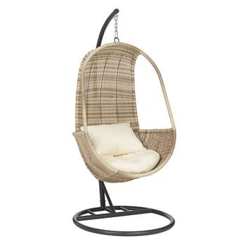 John Lewis & Partners Dante Pod Hanging Chair, Natural (H196.5 x W94.5 x D94.5cm)