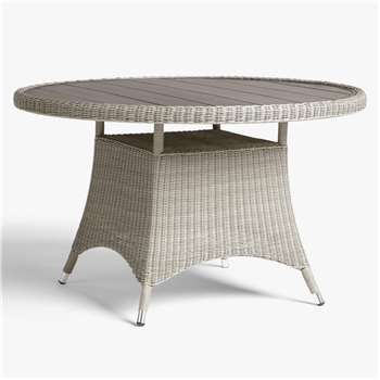 John Lewis & Partners Dante Wood-Effect Top 4 Seat Garden Dining Table, Grey (H75 x W120 x D120cm)