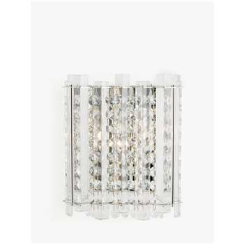 John Lewis & Partners Dazzle Crystal Mirrored Wall Light, Clear (H21.6 x W18 x D11cm)