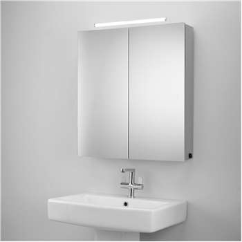 John Lewis & Partners Debut Double Mirrored Illuminated Bathroom Cabinet (H65 x W59 x D13cm)