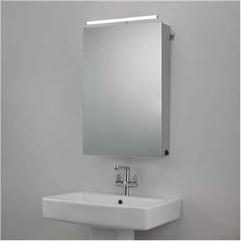 John Lewis & Partners Debut Single Mirrored Illuminated Bathroom Cabinet (H65 x W43 x D15cm)