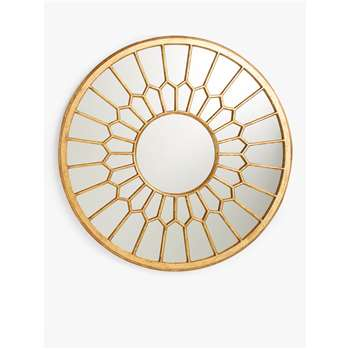 John Lewis & Partners Decorative Carved Wood Round Mirror, Gold (H80 x W80 x D1cm)
