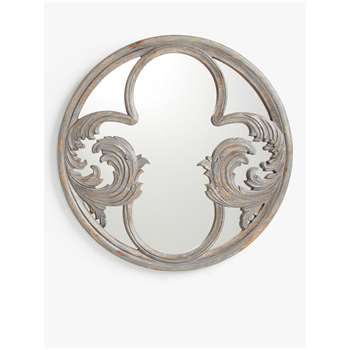 John Lewis & Partners Decorative Carved Wood Round Mirror, Grey (H60 x W60 x D1.3cm)
