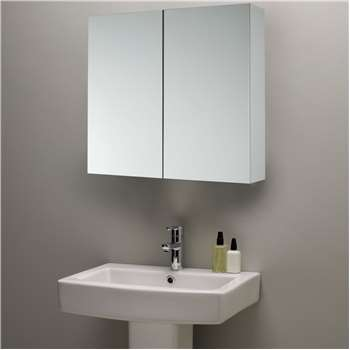 John Lewis & Partners Double Mirrored Bathroom Cabinet, White (H60 x W60 x D14cm)
