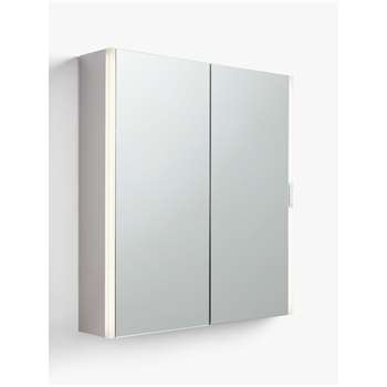 John Lewis & Partners Double Mirrored Slider Control Illuminated Bathroom Cabinet (H70 x W65 x D12.5cm)