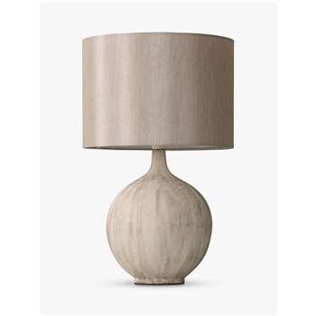 John Lewis & Partners Ebony Table Lamp, Stone (H45 x W28 x D28cm)