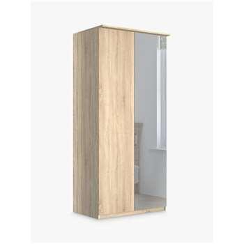 John Lewis & Partners Elstra 100cm Wardrobe Right-Hand Mirrored Hinged Door, Rustic Oak/Mirror (H220 x W100 x D58cm)