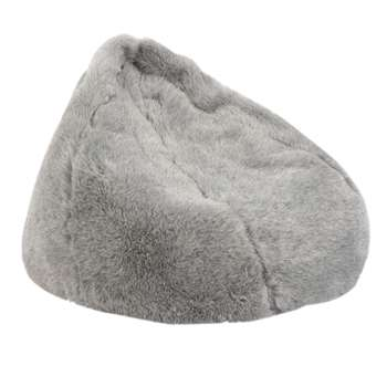 John Lewis & Partners Faux Fur Bean Bag, Grey (H70 x W80 x D95cm)