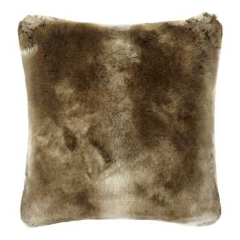 John Lewis & Partners Faux Fur Cushion, Golden Brown (H45 x W45cm)