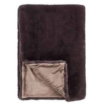 John Lewis & Partners Faux Fur Throw, Dark Grey (H150 x W200cm)