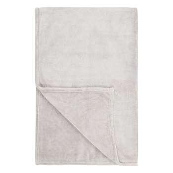 John Lewis & Partners Fleece Throw, Pale Grey (H150 x W200cm)
