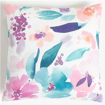 John Lewis & Partners Floral Reversible Showerproof Outdoor Cushion (H43 x W43cm)