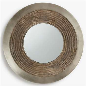 John Lewis & Partners Flynn Round Fusion Mirror, Antique Pewter (H24 x W24 x D1.6cm)