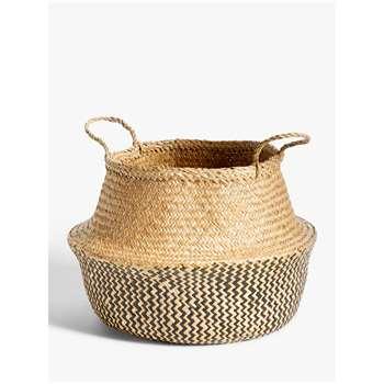 John Lewis & Partners Fusion Black Patterned Seagrass Storage Basket (H30 x W46 x D46cm)