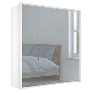 John Lewis & Partners Girona 200cm Wardrobe With Glass or Mirrored Hinged Doors, Mirrored Glass/Alpine White (H220 x W213 x D58cm)