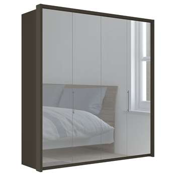 John Lewis & Partners Girona 200cm Wardrobe With Glass or Mirrored Hinged Doors, Mirrored Glass/Havana (H220 x W213 x D58cm)