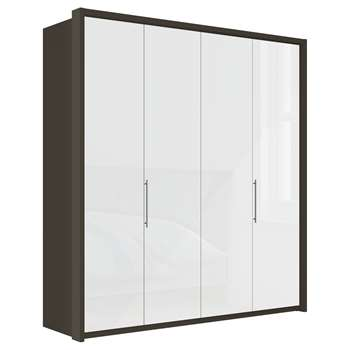 John Lewis & Partners Girona 200cm Wardrobe With Glass or Mirrored Hinged Doors, White Glass/Havana (H220 x W213 x D58cm)