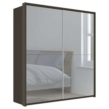 John Lewis & Partners Girona 200cm Wardrobe With Glass or Mirrored Sliding Doors, Mirrored Glass/Havana (H221 x W210 x D67cm)