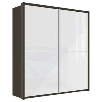 John Lewis & Partners Girona 200cm Wardrobe With Glass or Mirrored Sliding Doors, White Glass/Havana (H221 x W210 x D67cm)