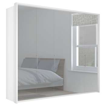 John Lewis & Partners Girona 250cm Wardrobe With Glass or Mirrored Hinged Doors, Mirrored Glass/Alpine White (H220 x W263 x D58cm)