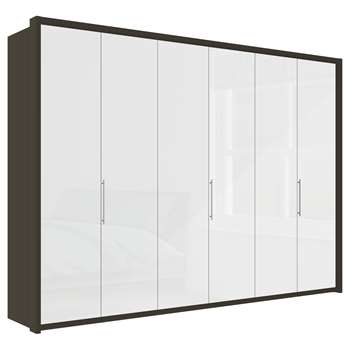 John Lewis & Partners Girona 300cm Wardrobe With Glass or Mirrored Hinged Doors, White Glass/Havana (H220 x W313 x D58cm)