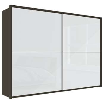 John Lewis & Partners Girona 300cm Wardrobe With Glass or Mirrored Sliding Doors, White Glass/Havana (H221 x W310 x D67cm)