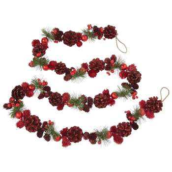 John Lewis & Partners Glittered Pine Cone Garland, Green/Red (Length 180cm)