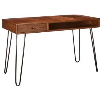 John Lewis & Partners Hairpin Desk, Dark Oak (H76 x W120 x D55cm)
