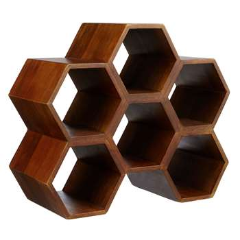 John Lewis & Partners Honeycomb Mango Wood Wine Rack, 6 Bottle, Natural (H28.7 x W33.7 x D15cm)