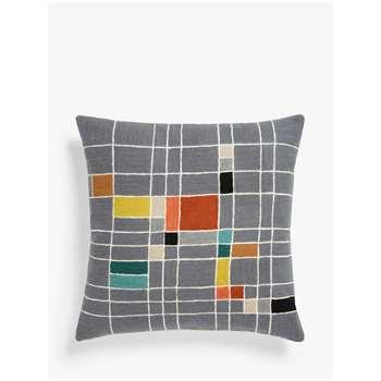 John Lewis & Partners Isak Grid Square Cushion, Multi (H50 x W50cm)