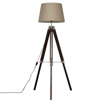 John Lewis & Partners Jacques Tripod Floor Lamp, Brown (H146 x W48 x D48cm)