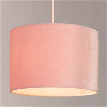 John Lewis & Partners Jenny Velvet Cylinder Lampshade, Pink (W20 x D20cm)