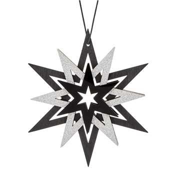 John Lewis & Partners Jet Layered Star Tree Decoration, Black/Silver (H12 x W10.6cm)