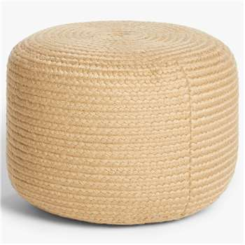 John Lewis & Partners Jute Look Outdoor Pouffe, Natural (H38 x W52 x D52cm)