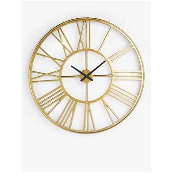 John Lewis & Partners Large Roman Numeral Skeleton Clock, Gold (Diameter 90cm)
