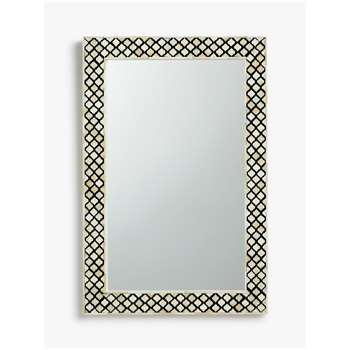 John Lewis & Partners Layla Inlay Pattern Mirror, Black/White (H90 x W60 x D3cm)