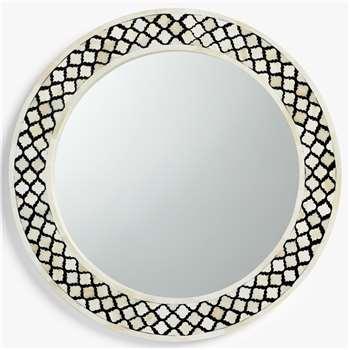 John Lewis & Partners Layla Inlay Pattern Round Mirror, 60cm, Black/White (H60 x W60 x D3cm)