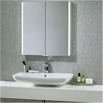 John Lewis & Partners LED Trace Double Mirrored Illuminated Bathroom Cabinet (H71 x W65 x D12cm)