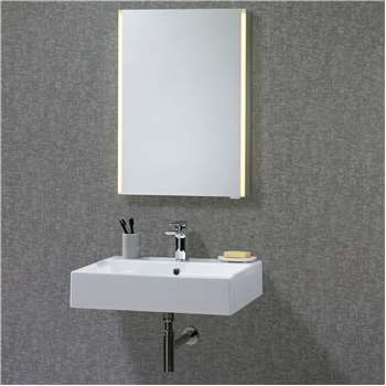John Lewis & Partners LED Trace Single Mirrored Illuminated Bathroom Cabinet (H70 x W50 x D12cm)