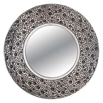 John Lewis & Partners Lunar Round Mirror, Dia.59cm, Silver (H59 x W59cm)