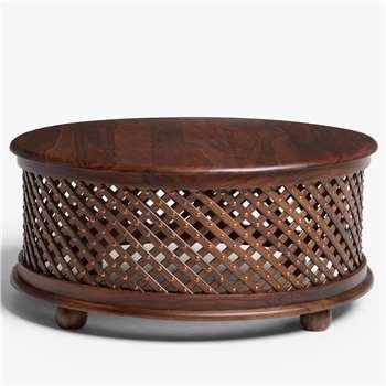 John Lewis & Partners Maharani Drum Coffee Table, Brown (H38 x W80 x D80cm)
