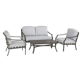 John Lewis & Partners Marlow Aluminium 4 Seater Garden Lounge Set, Black/Grey