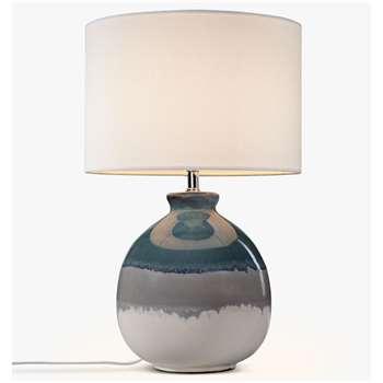 John Lewis & Partners Martha Ceramic Table Lamp, Blue (H50 x W32 x D32cm)