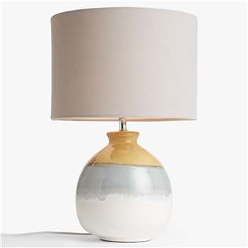 John Lewis & Partners Martha Ceramic Table Lamp, Sulphur (H50 x W32 x D32cm)